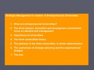 Strategic Management in creation of Entrepreneurial Universities