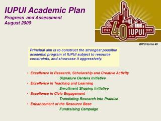 IUPUI Academic Plan Progress  and Assessment August 2009