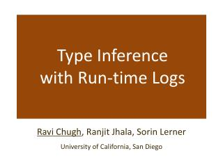 Type Inference with Run-time Logs