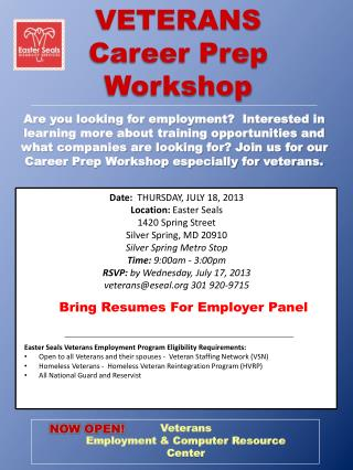 VETERANS              Career Prep  Workshop