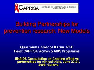 Building Partnerships for prevention research: New Models