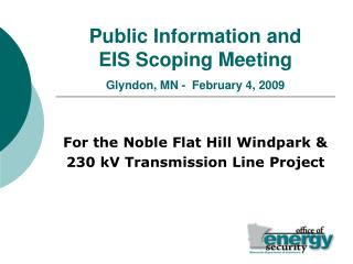 Public Information and EIS Scoping Meeting Glyndon, MN -  February 4, 2009