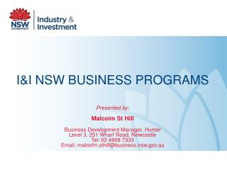 I&I NSW BUSINESS PROGRAMS