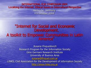 """Internet for Social and Economic Development.  A toolkit to Empower Communities in Latin America"""