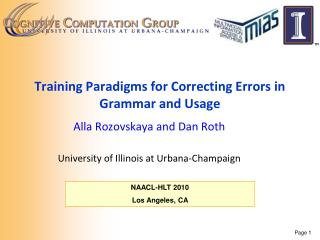Training Paradigms for Correcting Errors in Grammar and Usage