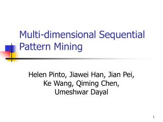 Multi-dimensional Sequential Pattern Mining