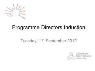 Programme Directors Induction