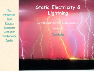 Static Electricity & Lightning A WebQuest for 5th Grade Science Designed by Tom Gaska