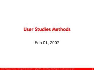 User Studies Methods