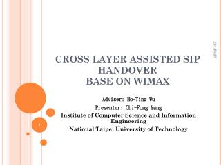 CROSS LAYER ASSISTED SIP HANDOVER  BASE ON WIMAX