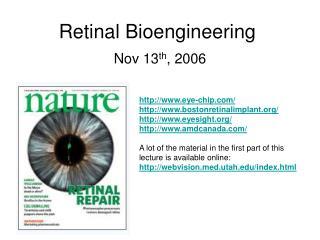 Retinal Bioengineering