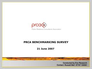 PRCA BENCHMARKING SURVEY