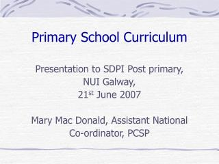 Primary School Curriculum