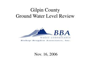 Gilpin County Ground Water Level Review