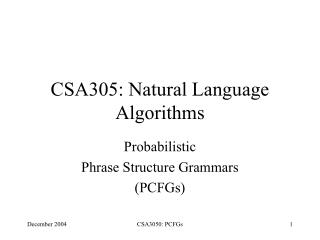 CSA305: Natural Language Algorithms