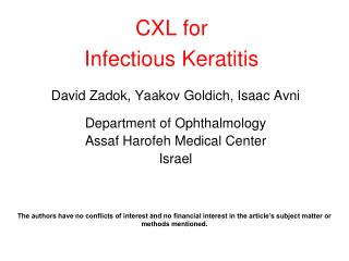 CXL for Infectious Keratitis