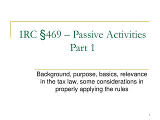 IRC §469 – Passive Activities Part 1