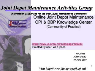 Online Joint Depot Maintenance CPI & BBP Knowledge Center (Community of Practice)