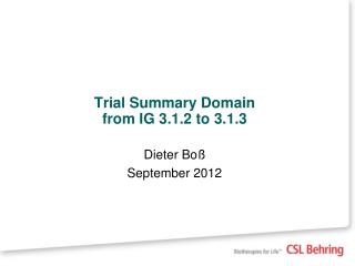Trial Summary Domain  from IG 3.1.2 to 3.1.3