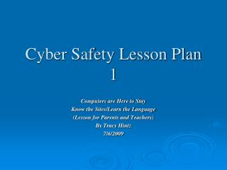 Cyber Safety Lesson Plan 1