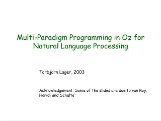 Multi-Paradigm Programming in Oz for  Natural Language Processing