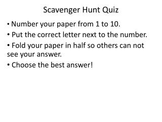 Scavenger Hunt Quiz