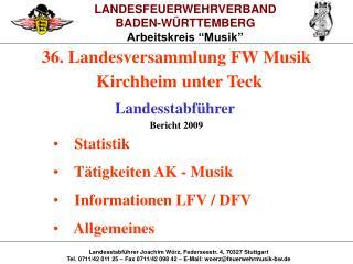 """LANDESFEUERWEHRVERBAND BADEN-WÜRTTEMBERG Arbeitskreis """"Musik"""""""