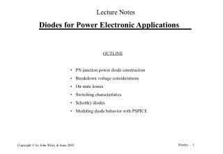 Diodes for Power Electronic Applications