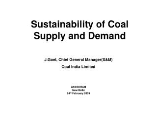 Sustainability of Coal Supply and Demand