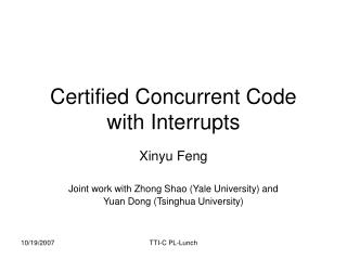 Certified Concurrent Code with Interrupts