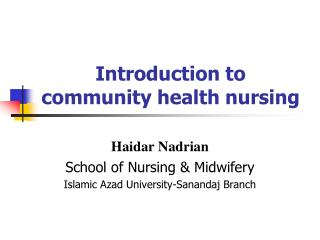 Introduction to community health nursing