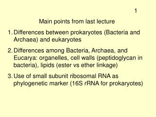 Main points from last lecture