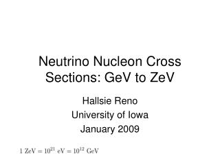 Neutrino Nucleon Cross Sections: GeV to ZeV