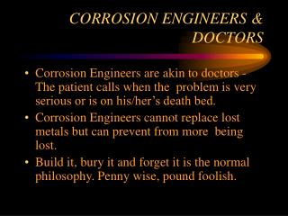 CORROSION ENGINEERS  DOCTORS