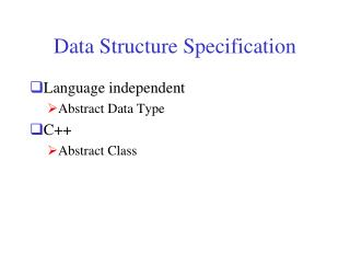 Data Structure Specification