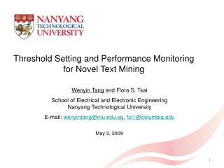 Threshold Setting and Performance Monitoring for Novel Text Mining