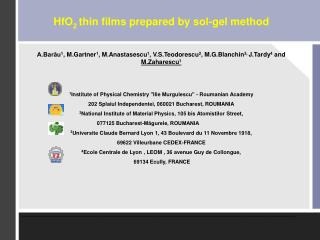 HfO 2  thin films prepared by sol-gel method