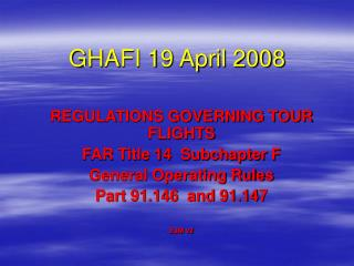 GHAFI 19 April 2008