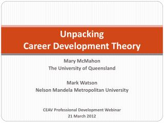 Unpacking Career Development Theory