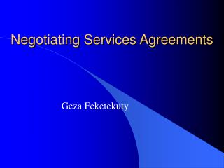 Negotiating Services Agreements