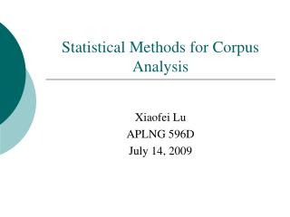 Statistical Methods for Corpus Analysis
