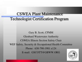 CSWEA Plant Maintenance  Technologist Certification Program