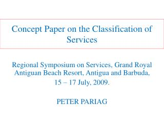 Concept  Paper on the Classification of Services