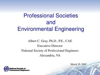 Professional Societies and Environmental Engineering