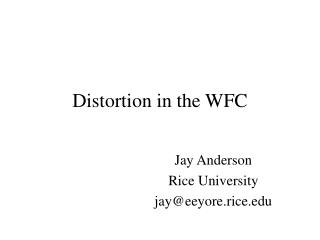 Distortion in the WFC