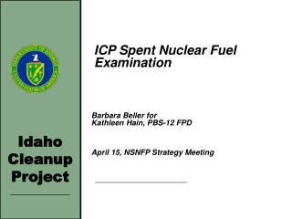 ICP Spent Nuclear Fuel Examination