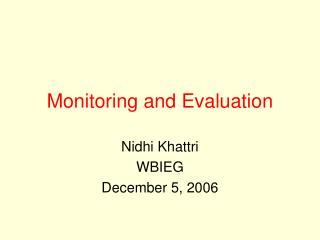 Monitoring and Evaluation