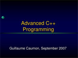 Advanced  C++  Programming
