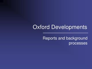 Oxford Developments