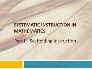 SYSTEMATIC INSTRUCTION IN MATHEMATICS